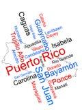 De kaart en de steden van Puerto Rico Royalty-vrije Stock Foto's