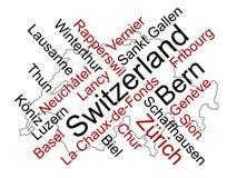 De kaart en de steden van Zwitserland Royalty-vrije Stock Afbeeldingen