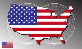 De kaart en de vlag van Amerika Royalty-vrije Stock Afbeeldingen