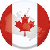 De kaart en de vlag van Canada Stock Foto