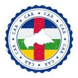 De kaart en de vlag van de Centraalafrikaanse Republiek in wijnoogst Royalty-vrije Stock Afbeeldingen