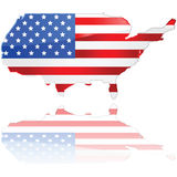 De kaart en de vlag van de V.S. Royalty-vrije Stock Afbeelding