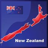 De kaart en de vlag van Nieuw Zeeland Stock Afbeeldingen
