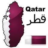 De kaart en de vlag van Qatar Royalty-vrije Stock Afbeeldingen