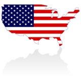 De Kaart en de Vlag van Verenigde Staten Royalty-vrije Stock Afbeelding