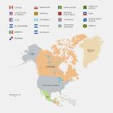 De kaart en de vlaggen van Noord-Amerika Stock Foto's
