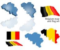 De kaart en de vlagreeks van België Stock Foto