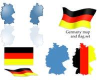 De kaart en de vlagreeks van Duitsland Stock Afbeelding