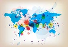 De kaart en de waterverf van de wereld Stock Afbeeldingen