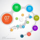 De Kaart en Elementen Infographic van Japan Vector royalty-vrije illustratie