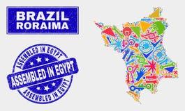 De Kaart en Grunge van de Staat van Roraima van de collagetechnologie in het Watermerk dat van Egypte wordt geassembleerd royalty-vrije illustratie