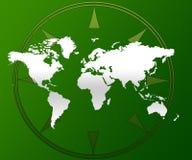 De kaart en het kompas van de wereld Stock Foto's
