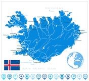 De Kaart en de Navigatiepictogrammen van IJsland Stock Afbeelding