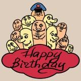 De kaart gelukkige verjaardag van de drukgroet Kleine grappig Stock Afbeelding