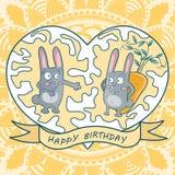 De kaart gelukkige verjaardag van de groet twee konijnen, wortelen, hart vector illustratie