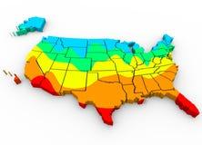 De Kaart Gemiddelde Temperaturen Heetste Koudste R van Verenigde Staten Amerika Royalty-vrije Stock Afbeelding