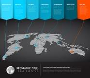 De kaart infographic malplaatje van de wereld Stock Afbeelding