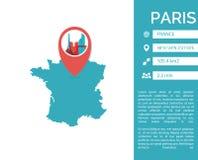 De kaart infographic vector geïsoleerde illustratie van Parijs vector illustratie