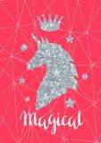 De kaart met fantasieeenhoorn en het zilver schitteren textuur Royalty-vrije Stock Afbeelding