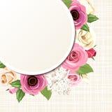 De kaart met roze en witte rozen, lisianthuses, anemonen en sering bloeit Vector eps-10 Stock Foto