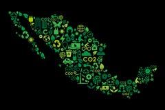 De kaart milieubescherming van Mexico groene conceptenpictogrammen royalty-vrije stock foto's