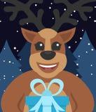 De kaart Nieuw jaar ` s van de malplaatjegroet of Vrolijke Kerstmis Leuke herten met gift Vector illustratie Vlak Ontwerp Stock Foto's
