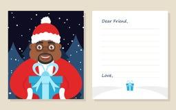 De kaart Nieuw jaar ` s van de malplaatjegroet of Vrolijke Kerstmisbrief aan Beste Vriend Royalty-vrije Stock Fotografie