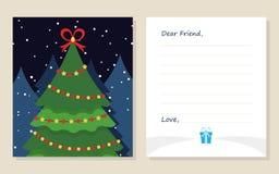 De kaart Nieuw jaar ` s van de malplaatjegroet of Vrolijke Kerstmisbrief aan Beste Vriend Leuke pijnboomboom met gift Vector illu Stock Afbeeldingen