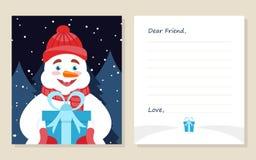 De kaart Nieuw jaar ` s van de malplaatjegroet of Vrolijke Kerstmisbrief aan Beste Vriend Leuke sneeuwman met gift Vector illustr Stock Afbeelding