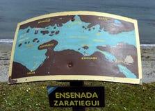 De kaart op de kust van het Brakkanaal in het Nationale Park van Tierra del Fuego Royalty-vrije Stock Afbeelding