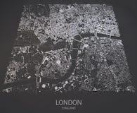 De kaart satellietmening van Londen Stock Afbeeldingen