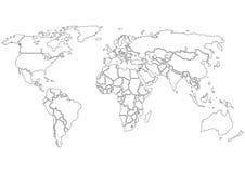 De kaart slechts contouren van de wereld Stock Afbeeldingen