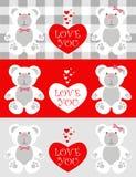 De kaart Teddy van de liefde Royalty-vrije Stock Afbeeldingen