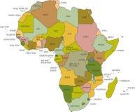 De Kaart van Afrika Stock Afbeeldingen