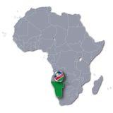 De kaart van Afrika met Namibië Stock Foto