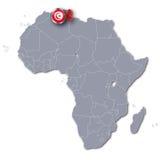 De kaart van Afrika met Tunesië Royalty-vrije Stock Foto