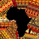 De kaart van Afrika op etnische achtergrond Stock Foto