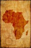 De kaart van Afrika op oud document Stock Fotografie