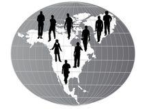 De kaart van Amerika met silhouetten Royalty-vrije Stock Foto
