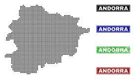 De Kaart van Andorra in Dot Style met Grunge-Titelzegels royalty-vrije illustratie