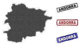 De Kaart van Andorra in Halftone Dot Style met Grunge-Titelzegels stock illustratie