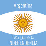 De kaart van Argentinië - afficheillustratie met vlagkleuren Stock Afbeeldingen