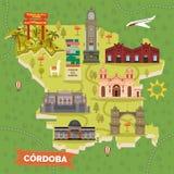 De kaart van Argentinië Cordoba met het sightseeing van oriëntatiepunten vector illustratie