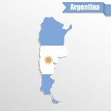 De kaart van Argentinië met vlagbinnenkant en lint Stock Foto