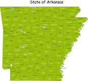 De kaart van Arkansas Stock Foto's