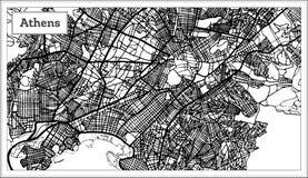 De Kaart van Athene Griekenland in Zwart-witte Kleur vector illustratie