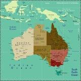 De kaart van Australië. Stock Foto's