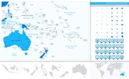 De kaart van Australië en van Oceanië in kleuren van blauw en kaartwijzerscol. stock illustratie