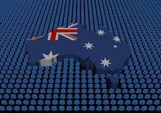 De kaart van Australië met dollarsymbolen Stock Foto