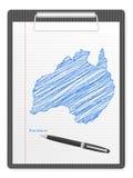 De kaart van Australië van het klembord Royalty-vrije Stock Fotografie